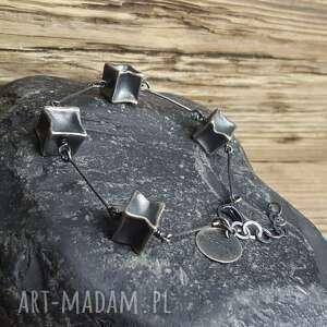 bransoletka srebrna kostki, srebro, srebro oksydowane, biżuteria