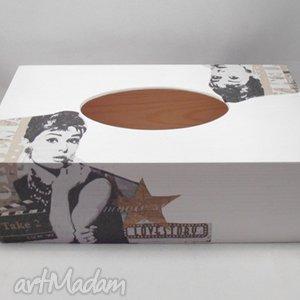 pudełka chustecznik audrey hepburn, chustecznik, decoupage, pudełko, prezent
