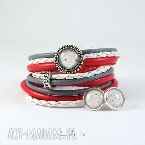 komplet - bransoletka i kolczyki czerwona, szara, biała owijana, rzemienie