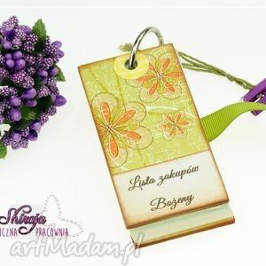 lista na zakupy dla p agnieszki, lista, zakupów, notes, kwiaty, zapiśnik scrapbooking
