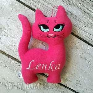Ciemno różowy kot personalizowana zabawka z imieniem dziecka metryczka,