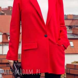elegancki krótki czerwony płaszcz damski l, elegancki, klasyczny, krótki, flauszowy