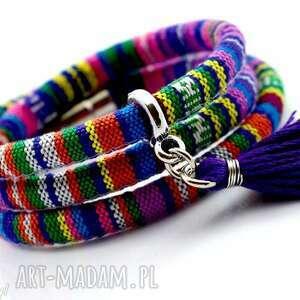 bransoletka magnetoos boho violet z chwostem, bransoletka, tkanina, boho, magnetyczne