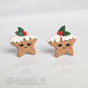 pomysł na świąteczne prezenty Kolczyki pierniczki, gwiazdki -