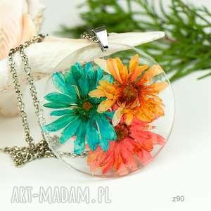 Prezent Naszyjnik z suszonymi kwiatami, Herbarium Jewelry, kwiaty w żywicy z90