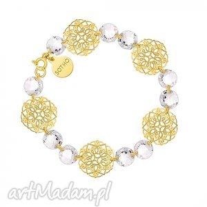 sotho złota bransoletka z rozetek i bezbarwnych kryształów