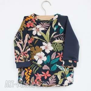 Prezent Bluza dla dziewczynki KWIATY 104-128 cm, bluzka-w-kwiatki, granatowa-bluzka