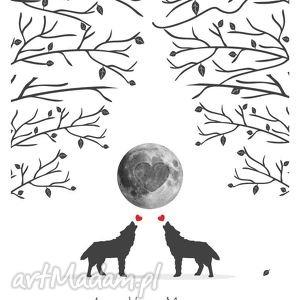 księgi gości plakat wpisów weselnych - wilki 50x70 cm 2 tusze, wesele, ślub