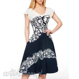 sukienki sukienka luna ii midi larisa granat , midi, ornament, rozkloszowana