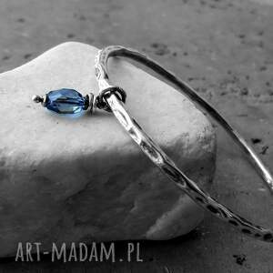 srebro i kwarc granatowy - bransoleta bangla, okrągła, srebro, z zawieszką