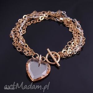 Otwarte serce, bransoletka - ,serce,pozłacane,srebro,bransoletka,biżuteria,