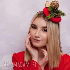 prezent na święta, ozdoby do włosów toczek świąteczny, fascynator, toczek