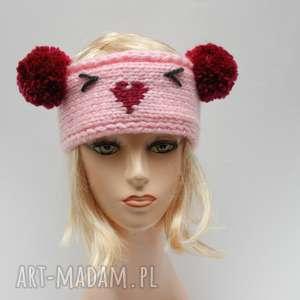 opaski różowa szeroka opaska, szeroka, mysz, pompony, dla-nastolatki, zimowa