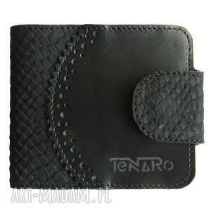 portmonetka skórzana elizium czarna, portfel, unisex, czarny