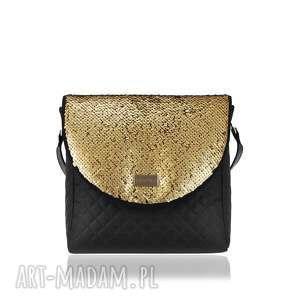 ręczne wykonanie na ramię torebka puro 1492 sequins dark gold
