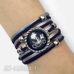 bransoletka kotwica - niebieskie bransoletki, marynarski, zawijana, morska