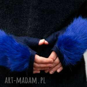 rekawiczki z filcu z futerkiem blue rękawiczki, prezent, filc, eko futro, rekawiczki