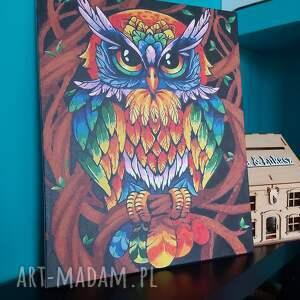 obraz sowy malowany farbami, obraz, sowa, kolorowy, prezent