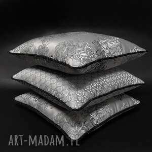 komplet 3 poduszek srebrno-szarych ze sznurem 45x45cm, poduszki ozdobne