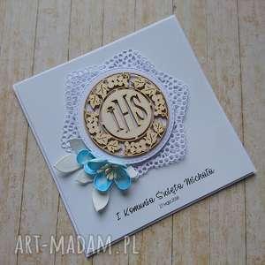 kartka/zaproszenie koronka i kwiat, komunia, chrzest, pamiątka, hostia, gołąbek