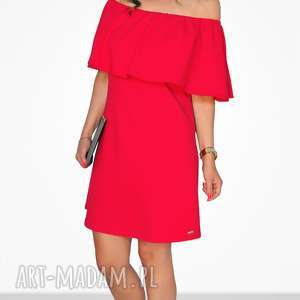 bien fashion czerwona sukienka z falbanką mini l, falbanka, hiszpanka, mini