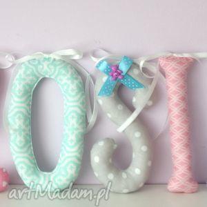 literki szyte imię zosia ozdoba pokoju - literki, imię, dziecko, ozdoba, prezent