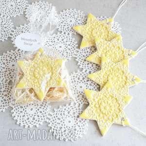 ceramiczna gwiazdka, śnieżynka, ozdoba choinkowa, upominek świąteczny, folk