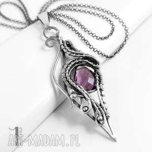 Squamis srebrny naszyjnik z ametystem naszyjniki miechunka
