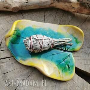 ceramika ceramiczny talerzyk, liść c279, ceramiczna, biała szałwia