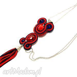 granatowo-czerwony wisiorek sutasz, soutache, wisior, kolorowy, elegancki