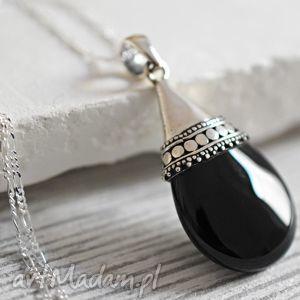 925 onyx srebrny łańcuszek - czerń, czarny, kamień, łańcuszek