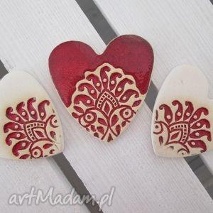 folkowe serduszka trzy magnesy, zestaw, serca, serduszka, folk, komplet, ceramiczne