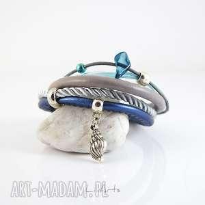 bransoletka marynarska - morze muszelka rzemienie, sznurki