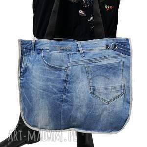 ręcznie zrobione na ramię duża torba upcykling jeans 72 g-star od majunto