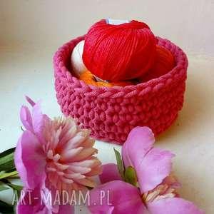 kosze różowy koszyk, kosz, sznurek, koszyczek, szydełkowy