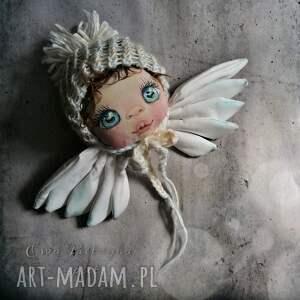 portret anioła - dekoracja tekstylna na ścianę, anioł stróż, portret, twarz