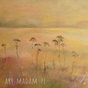 obraz na płótnie - łąka w brązach format 40/30 cm, łąka, brązy, zieleń, natura