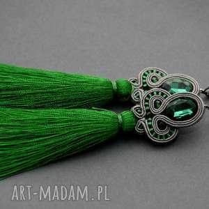 Kolczyki sutasz z chwostami sisu sznurek, eleganckie, wiszące