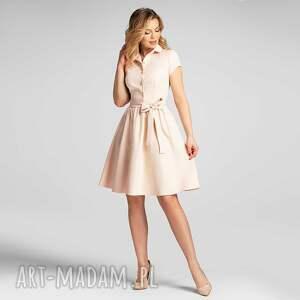 sukienka sabina mini vanillia, mini, beżowa, rozkloszowana, na lato, wesele