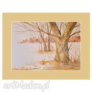pejzaż z lasem w tle, akwarela, pejzaż, las, drzewa, malarstwo, obraz