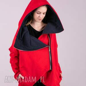 handmade kurtka damska na zamek czerwona