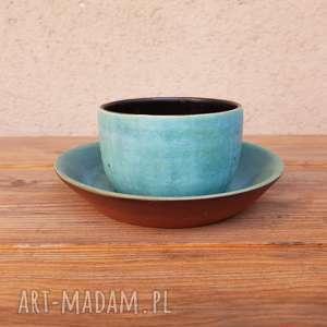 Czarka na herbatę z talerzykiem, ceramika, glina, czarka, talerzyk, herbata