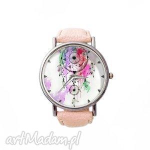 handmade zegarki łapacz snów - skórzany zegarek z dużą tarczą