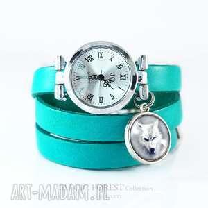 zegarek, bransoletka - biały wilk turkusowy, skórzany