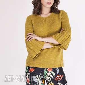 swetry sweterek, swe096 żółty mkm, dzianinowy, sweter, rozszerzane, rękawy, jesienny