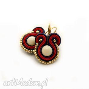 granatowo-czerwone kolczyki sutasz, sznurek, złote, kolorowe, eleganckie, wiszące
