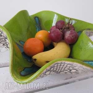 wywijana misa na owoce, ceramiczna, miska, dekoracyjna, koronkowa, na, owoce