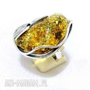 srebrny pierścionek z pięknym bursztynem bałtyckim, pierścionek, srebro925