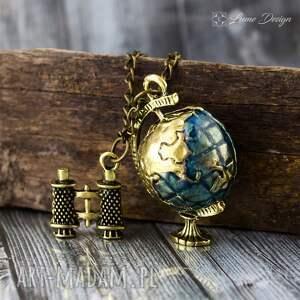 Naszyjnik Traveler - Globus, podróżnik, globus, lornetka, ziemia, wisiorek, mapa