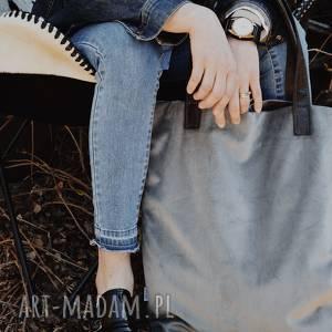 na ramię torba mr m velvet szara/uszy skóra naturalna, shopper, pojemna, zakupy